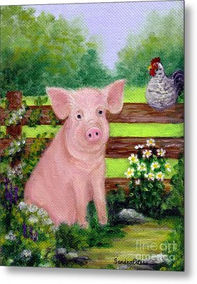 Metal Print featuring the painting Storybook Pig by Sandra Estes