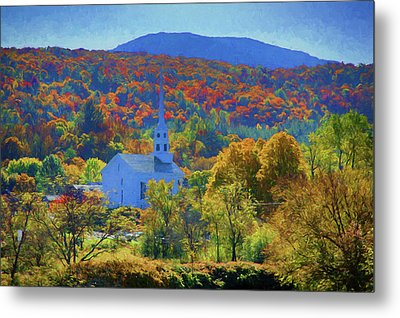 Metal Print featuring the photograph Stowe Vermont Church In Fall by Jeff Folger