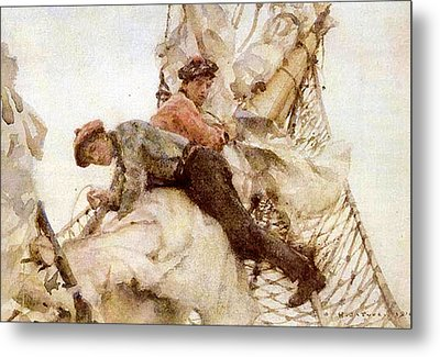 Metal Print featuring the painting Stowing The Headsails  by Henry Scott Tuke