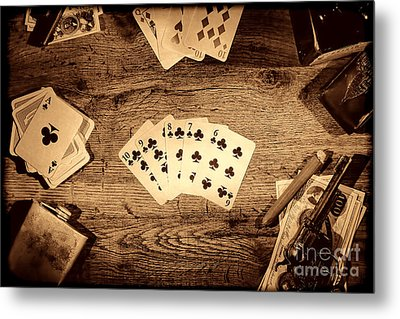 Straight Flush Metal Print by American West Legend By Olivier Le Queinec