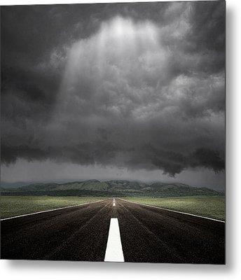 Straight Road Metal Print by Carlos Gotay