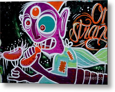 Metal Print featuring the painting Strange Graffiti Creature Eaitng Sausagees by Yurix Sardinelly