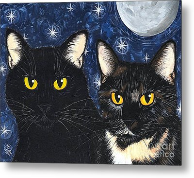 Metal Print featuring the painting Strangeling's Felines - Black Cat Tortie Cat by Carrie Hawks