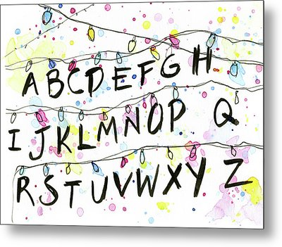 Stranger Things Alphabet Christmas Lights Metal Print by Olga Shvartsur