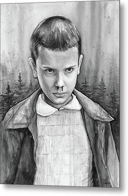 Stranger Things Fan Art Eleven Metal Print by Olga Shvartsur