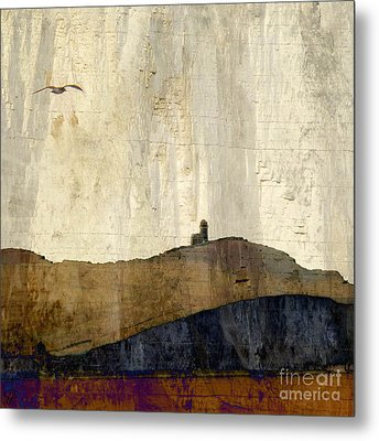 Strata With Lighthouse And Gull Metal Print