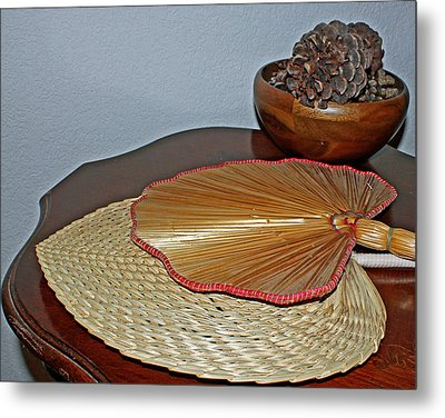 Metal Print featuring the photograph Straw Fans by Judy Vincent