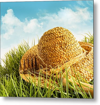 Straw Hat On Grass With Blue Sky  Metal Print by Sandra Cunningham