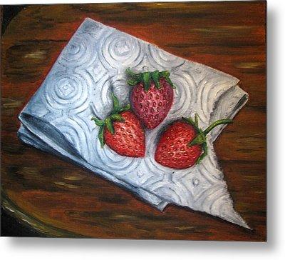 Strawberries-3 Contemporary Oil Painting Metal Print by Natalja Picugina