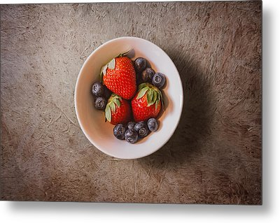 Strawberries And Blueberries Metal Print