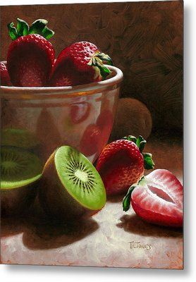 Strawberries And Kiwis Metal Print