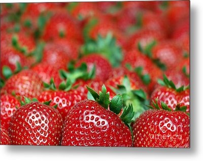 Strawberries Close-up Picture Metal Print by Paul Velgos