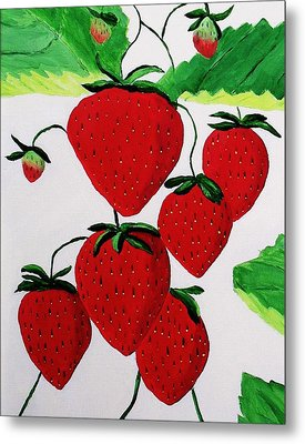 Metal Print featuring the painting Strawberries by Rodney Campbell