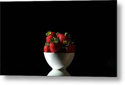 Strawberries Still Life Metal Print by Michael Ledray