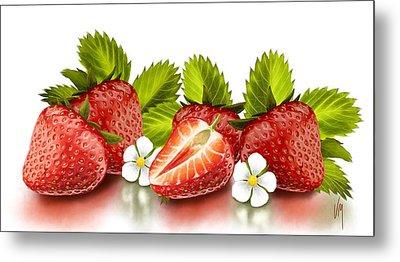 Strawberries Metal Print by Veronica Minozzi
