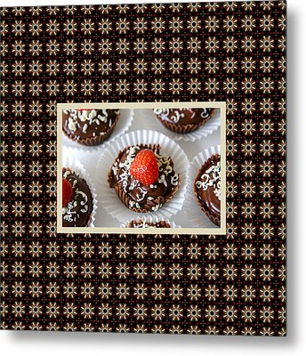 Metal Print featuring the photograph Strawberry And Dark Chocolate Mousse Dessert by Shelley Neff