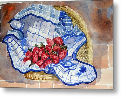 Metal Print featuring the painting Strawberry Basket by Pat Crowther