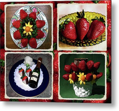 Metal Print featuring the photograph Strawberry Collage by Sally Weigand