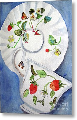 Strawberry Cup And Saucer Metal Print by Sandy McIntire