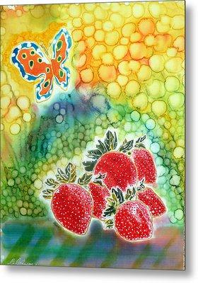 Strawberry Garden Metal Print by Beverly Johnson