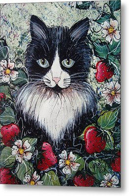 Strawberry Lover Cat Metal Print by Natalie Holland