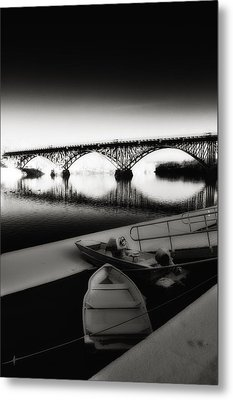 Strawberry Mansion Bridge In Winter Metal Print by Bill Cannon