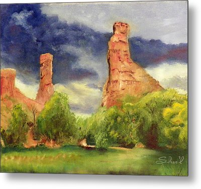 Metal Print featuring the painting Strawberry Pinnacles by Sherril Porter