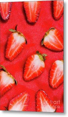 Strawberry Slice Food Still Life Metal Print