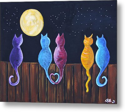Stray Cats In Moonlight Metal Print