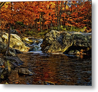 Stream In Autumn 57 In Oil Metal Print by Mark Myhaver