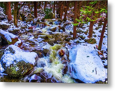 Stream In Snow Covered Woods Metal Print by Garry Gay