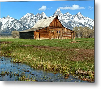 Streaming By The Moulton Barn Metal Print by Adam Jewell
