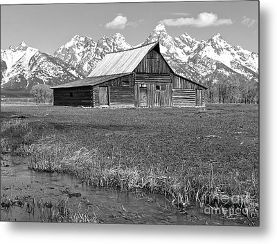 Streaming By The Moulton Barn Black And White Metal Print by Adam Jewell