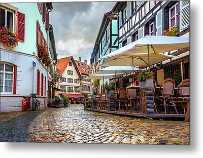 Metal Print featuring the photograph Street Cafe After The Rain by Dmytro Korol