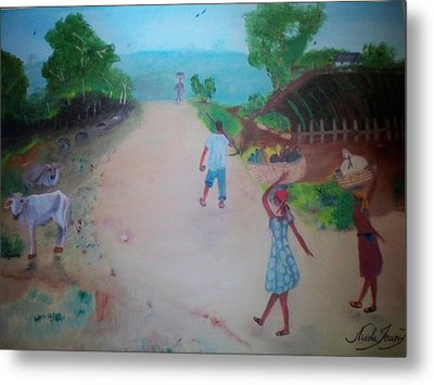 Metal Print featuring the painting Street Dawn Activities by Nicole Jean-Louis