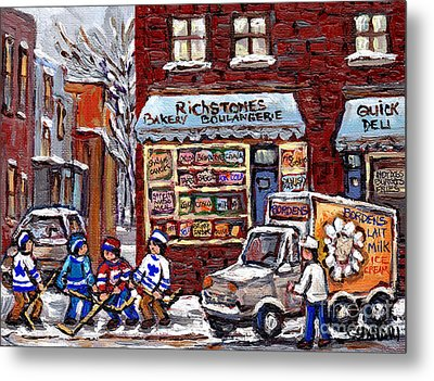 Street Hockey And Borden's Milk Man At Richstone Bakery And Quick Deli Montreal Memories Painting   Metal Print by Carole Spandau