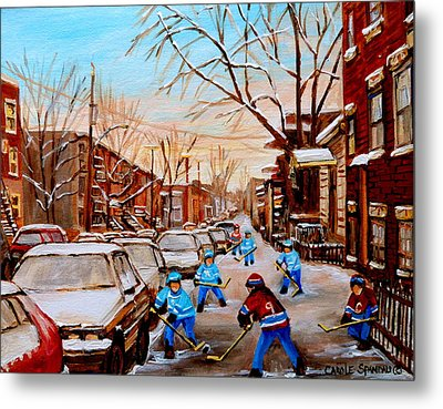 Street Hockey On Jeanne Mance Metal Print by Carole Spandau