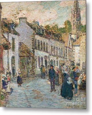 Street In Pont Aven Metal Print by Childe Hassam