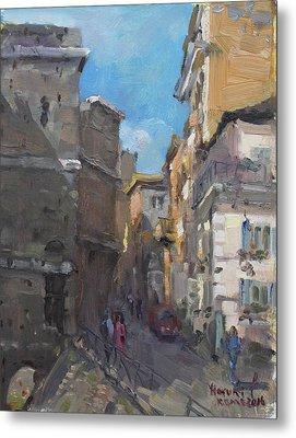 Street In Rome Metal Print by Ylli Haruni