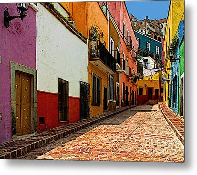 Street Of Color Guanajuato 5 Metal Print by Mexicolors Art Photography