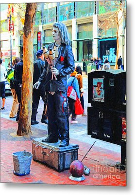 Street Performer 2 . Photoart Metal Print by Wingsdomain Art and Photography