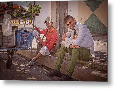 Metal Print featuring the photograph Street Vendors In Cienfuegos Cuba by Joan Carroll