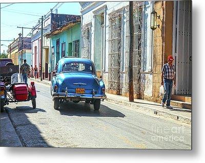Streetlife With Car In Trinidad, Cuba Metal Print