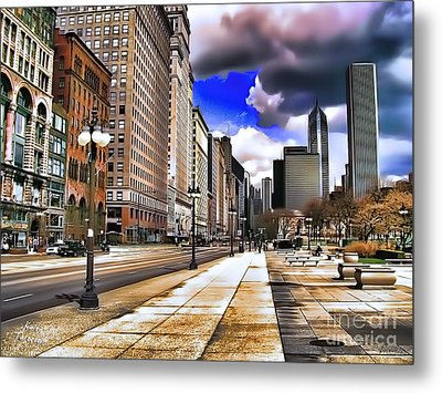 Streets Of Chicago Metal Print by Kathy Tarochione