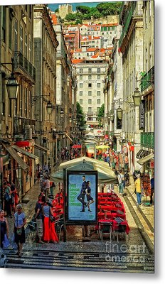Streets Of Lisbon 3 Metal Print by Mary Machare