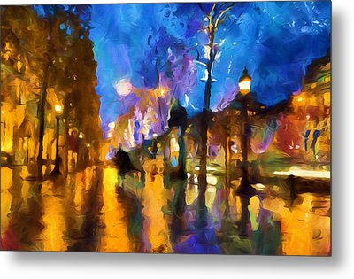 Streets Of Paris By Night Abstract Metal Print by Georgiana Romanovna