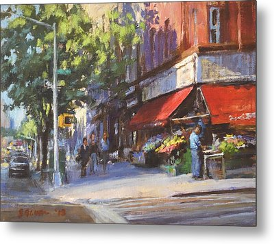 Streetscape With Red Awning - 82nd Street Market Metal Print