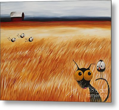 Stressie Cat And Crows In The Hay Fields Metal Print