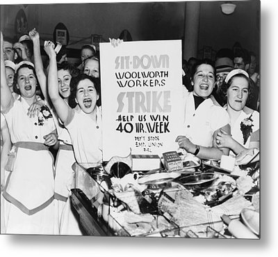 Striking Women Employees Of Woolworths Metal Print by Everett