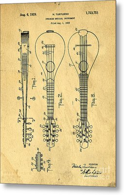 Stringed Musicial Instrument Patent Art Blueprint Drawing Metal Print by Edward Fielding